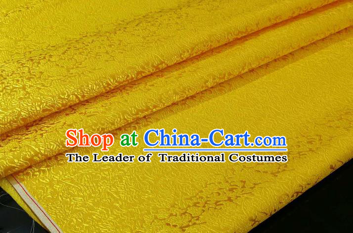 Chinese Traditional Ancient Costume Palace Pattern Cheongsam Yellow Brocade Tang Suit Satin Mongolian Robe Fabric Hanfu Material