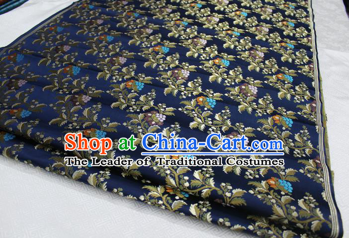 Chinese Traditional Ancient Costume Palace Grape Pattern Cheongsam Navy Brocade Tang Suit Satin Fabric Hanfu Material