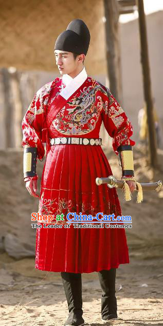 Traditional Chinese Ancient Ming Dynasty Blades Jisum Costume Imperial Guard Hanfu Embroidered Fly Fish Clothing for Men