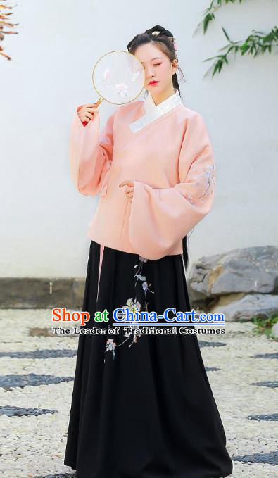 Traditional Chinese Ming Dynasty Nobility Lady Princess Hanfu Embroidered Paeonia Lactiflora Clothing for Women