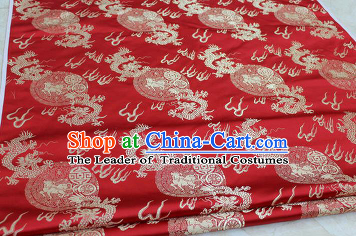Chinese Traditional Ancient Costume Royal Palace Fire Dragon Pattern Tang Suit Mongolian Robe Red Brocade Satin Fabric Hanfu Material