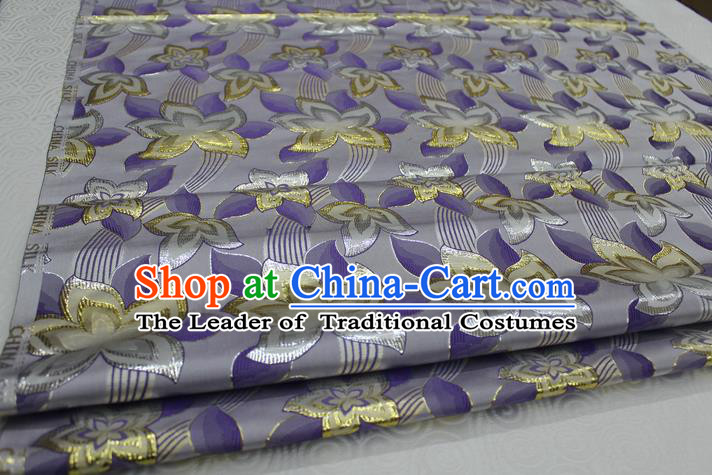 Chinese Traditional Ancient Costume Royal Flowers Pattern Tang Suit Mongolian Robe Purple Brocade Satin Fabric Hanfu Material