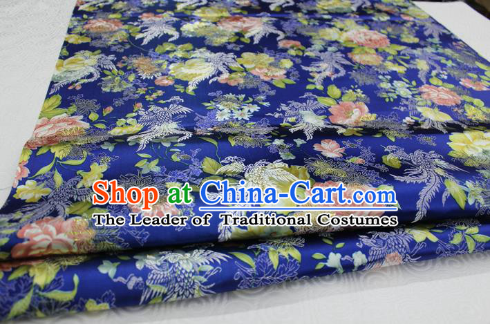 Chinese Traditional Ancient Costume Royal Phoenix Pattern Tang Suit Wedding Dress Blue Brocade Cheongsam Satin Fabric Hanfu Material