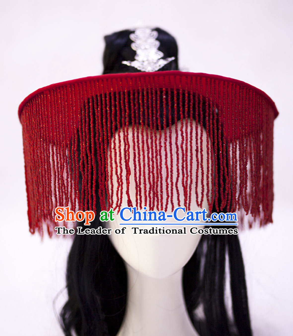 Red Chinese Ancient Tang Dynasty Swordsman Style Hat