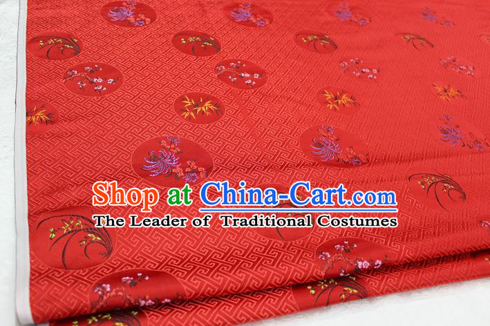 Chinese Traditional Wedding Clothing Tang Suit Red Brocade Ancient Costume Palace Plum Blossom Orchid Bamboo Chrysanthemum Pattern Satin Fabric Hanfu Material