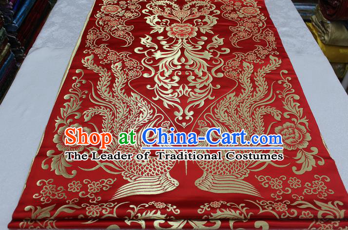 Chinese Traditional Ancient Wedding Costume Cheongsam Red Brocade Palace Phoenix Pattern Xiuhe Suit Satin Fabric Hanfu Material