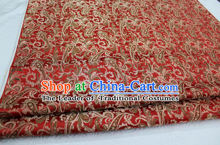 Chinese Traditional Ancient Costume Mongolian Robe Xiuhe Suit Red Brocade Palace Pattern Satin Fabric Hanfu Material