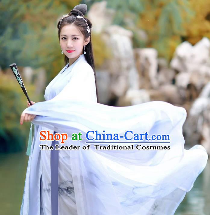Traditional Chinese Jin Dynasty Imperial Princess Fairy Hanfu Embroidered Wide Sleeve Costume for Women