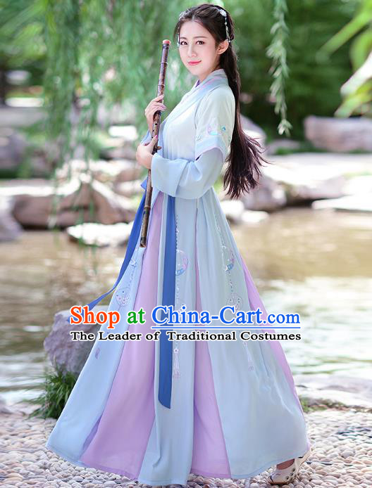 Traditional Chinese Tang Dynasty Swordswoman Princess Hanfu Embroidered Costume for Women