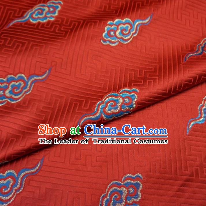 Chinese Traditional Royal Court Dragons Cloud Pattern Red Brocade Ancient Costume Tang Suit Cheongsam Bourette Fabric Hanfu Material