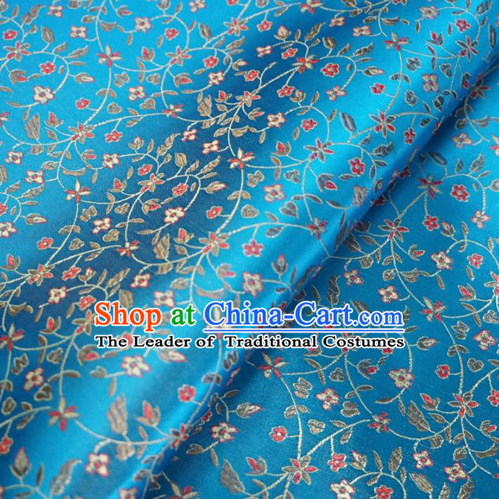 Chinese Traditional Royal Court Pattern Blue Brocade Fabric Ancient Costume Tang Suit Cheongsam Hanfu Material