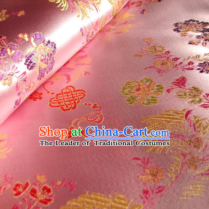 Chinese Traditional Clothing Royal Court Chinese Knots Pattern Tang Suit Pink Brocade Ancient Costume Cheongsam Satin Fabric Hanfu Material