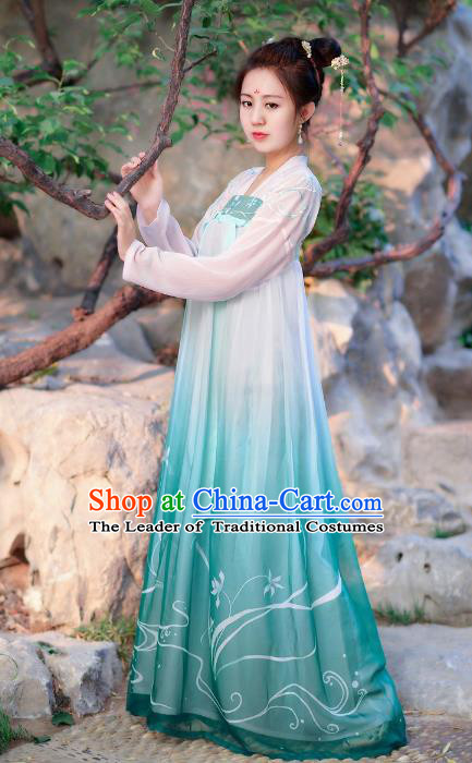 Traditional Chinese Tang Dynasty Young Lady Princess Hanfu Embroidered Orchid Costume for Women