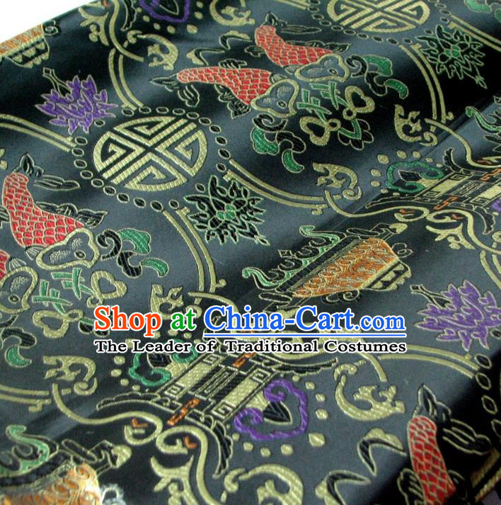 Chinese Traditional Royal Palace Fish Pattern Design Black Brocade Fabric Ancient Costume Tang Suit Cheongsam Hanfu Material