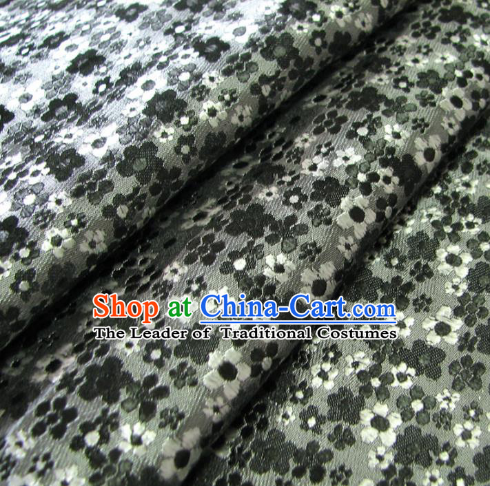 Chinese Traditional Royal Palace Wintersweet Pattern Design Grey Brocade Fabric Ancient Costume Tang Suit Cheongsam Hanfu Material