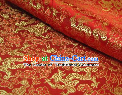 Chinese Traditional Royal Palace Dragons Pattern Design Red Brocade Fabric Ancient Costume Tang Suit Cheongsam Hanfu Material