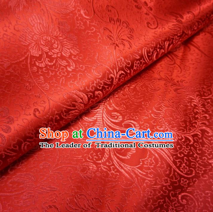 Chinese Traditional Royal Palace Pattern Design Red Brocade Fabric Ancient Costume Tang Suit Cheongsam Hanfu Material