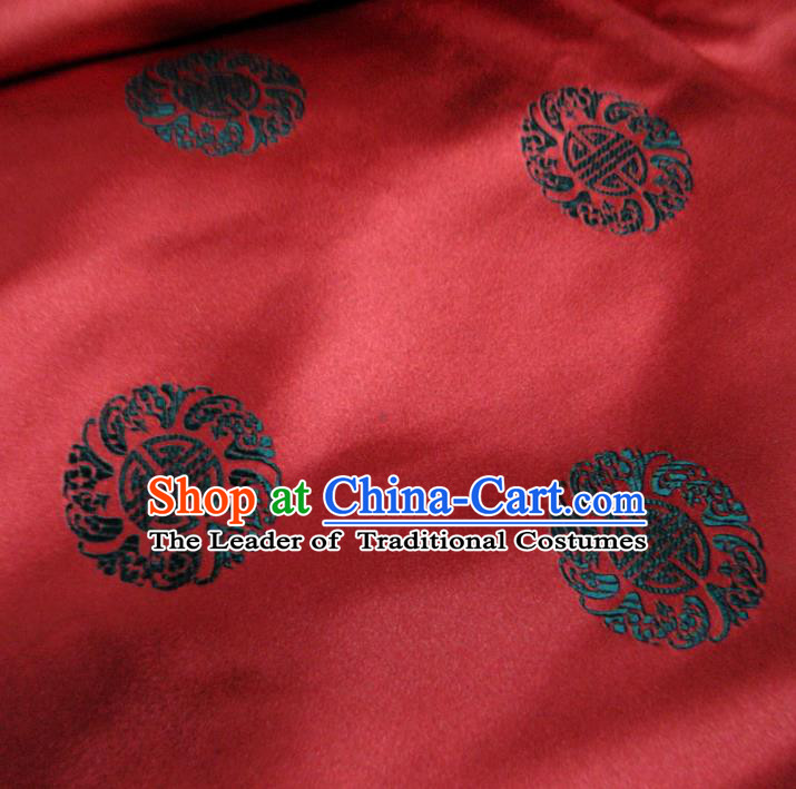 Chinese Traditional Royal Palace Pattern Design Hanfu Purplish Red Brocade Mongolian Robe Fabric Ancient Costume Tang Suit Cheongsam Material