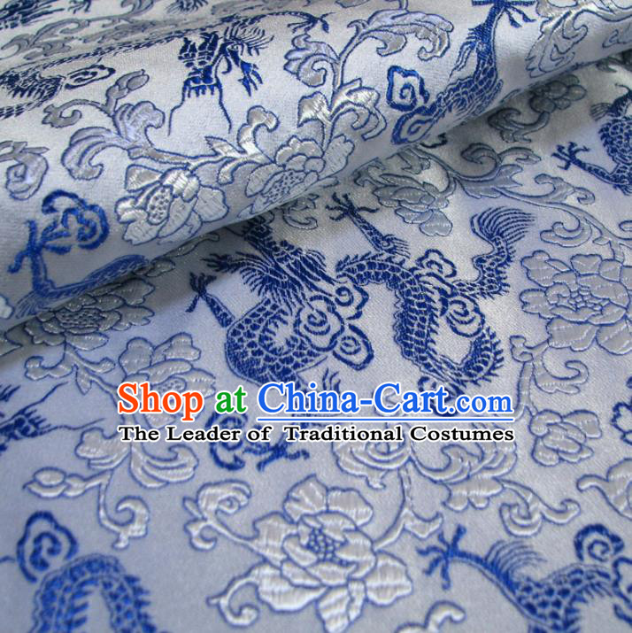 Chinese Traditional Royal Palace Dragons Pattern Design Hanfu Brocade Xiuhe Suit Fabric Ancient Costume Tang Suit Cheongsam Material