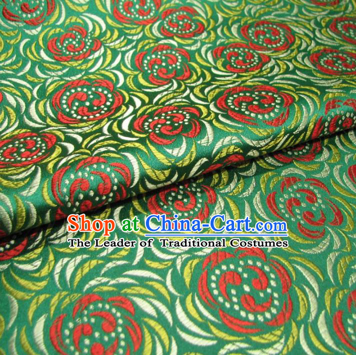 Chinese Traditional Palace Pattern Design Hanfu Green Brocade Fabric Ancient Costume Tang Suit Cheongsam Material