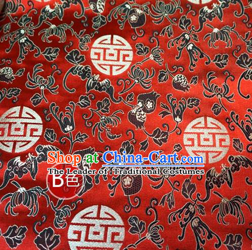 Chinese Traditional Palace Chrysanthemum Pattern Hanfu Red Brocade Fabric Ancient Costume Tang Suit Cheongsam Material