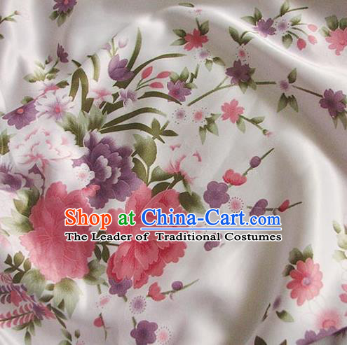 Chinese Traditional Royal Palace Printing Peony Hanfu White Brocade Fabric Ancient Costume Tang Suit Cheongsam Material