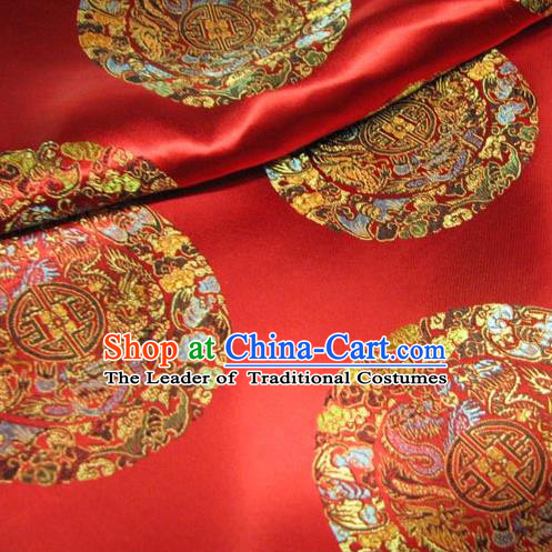 Chinese Traditional Palace Dragons Pattern Design Hanfu Red Brocade Fabric Ancient Costume Tang Suit Cheongsam Material