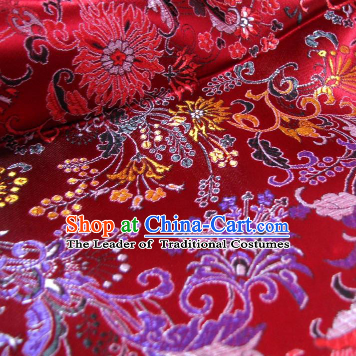 Chinese Traditional Palace Rich Pattern Design Hanfu Red Brocade Fabric Ancient Costume Tang Suit Cheongsam Material