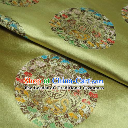 Chinese Traditional Palace Dragons Pattern Design Hanfu Yellow Brocade Fabric Ancient Costume Tang Suit Cheongsam Material