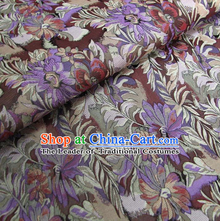 Chinese Traditional Palace Flowers Pattern Design Hanfu Purple Brocade Fabric Ancient Costume Tang Suit Cheongsam Material