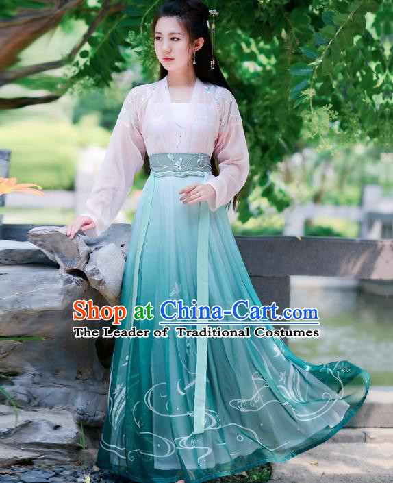 Traditional Chinese Tang Dynasty Young Lady Princess Hanfu Embroidered Costume for Women