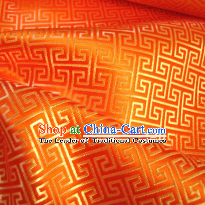 Chinese Traditional Palace Pattern Design Hanfu Orange Brocade Fabric Ancient Costume Tang Suit Cheongsam Material