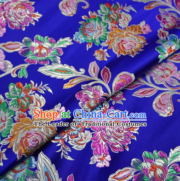 Chinese Traditional Palace Chrysanthemum Pattern Hanfu Blue Brocade Fabric Ancient Costume Tang Suit Cheongsam Material