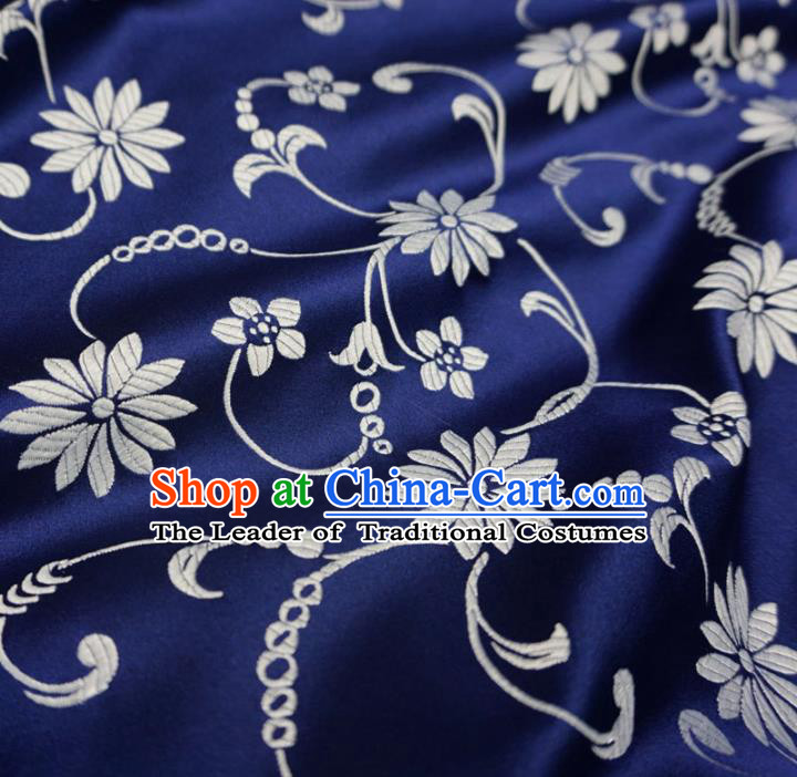 Chinese Traditional Palace Pattern Hanfu Navy Brocade Fabric Ancient Costume Tang Suit Cheongsam Material