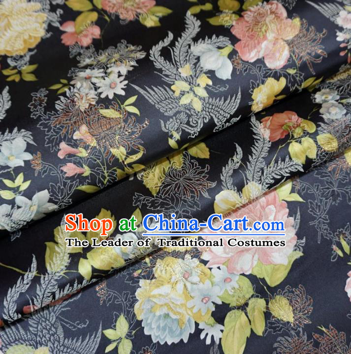 Chinese Traditional Palace Printing Flowers Pattern Hanfu Navy Brocade Fabric Ancient Costume Tang Suit Cheongsam Material