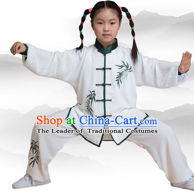 Traditional Chinese Kung Fu Embroidered Green Uniform Costume, China Martial Arts Tai Ji Clothing for Kids