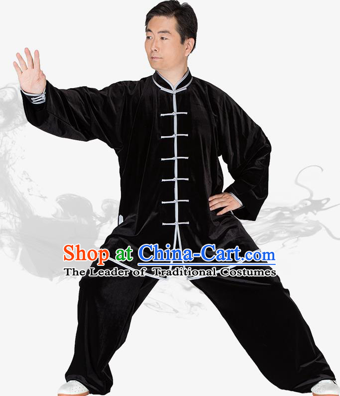 Chinese Kung Fu Black Velvet Costume Traditional Martial Arts Kung Fu Tai Ji Uniform for Women for Men