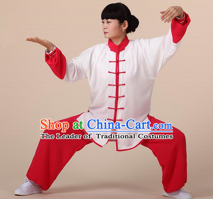 Chinese Kung Fu Red Plated Buttons Costume, Traditional Martial Arts Kung Fu Tai Ji Uniform for Women for Men