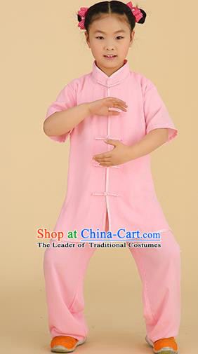 Chinese Kung Fu Linen Plated Buttons Costume, Traditional Martial Arts Tai Ji Pink Uniform for Kids