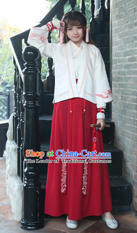 Traditional Chinese Ancient Swordswoman Hanfu Embroidered Costume, China Song Dynasty Young Lady Clothing for Women