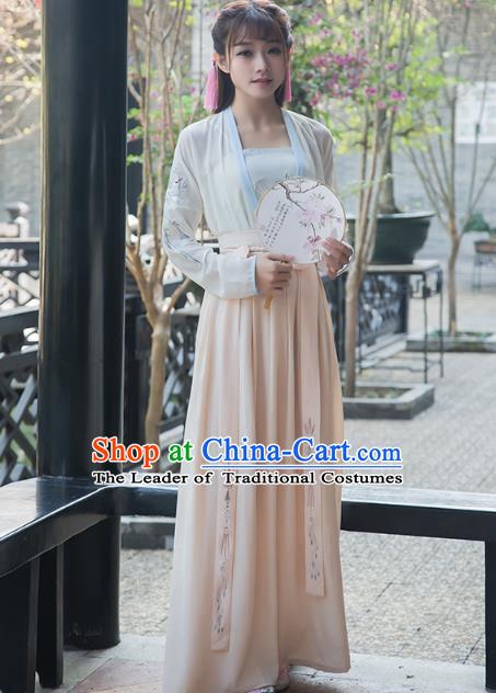 Traditional Chinese Ancient Young Lady Hanfu Embroidered Costume, China Song Dynasty Princess Clothing for Women