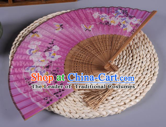 Traditional Chinese Crafts Printing Butterfly Pink Silk Folding Fan China Oriental Fans for Women