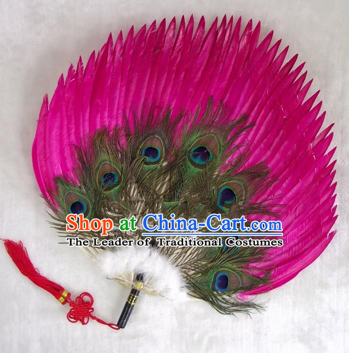 Traditional Chinese Crafts Folding Fan China Rosy Goose Feather Fan Oriental Fan Zhuge Liang Fans