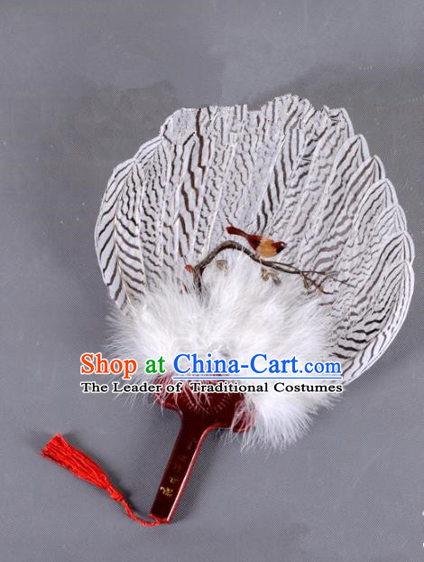 Traditional Chinese Crafts Folding Fan China Printing Bird Feather Fan Oriental Fan Zhuge Liang Fans