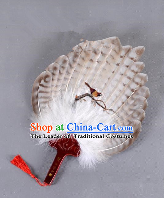 Traditional Chinese Crafts Folding Fan China Printing Bird Brown Feather Fan Oriental Fan Zhuge Liang Fans
