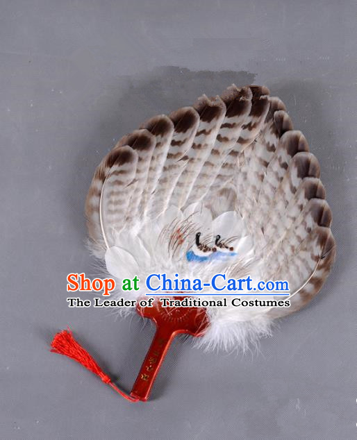 Traditional Chinese Crafts Folding Fan China Printing Mandarin Duck Brown Feather Fan Oriental Fan Zhuge Liang Fans