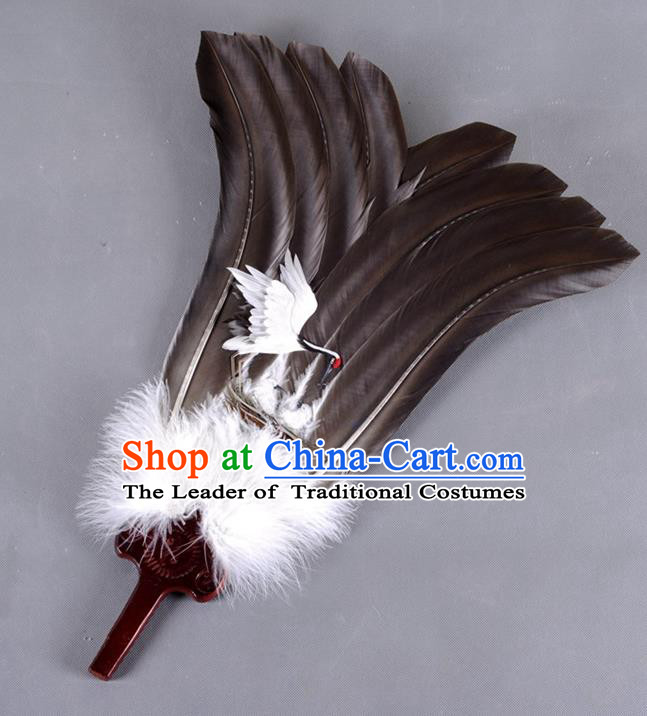 Traditional Chinese Crafts Folding Fan China Black Feather Fan Oriental Crane Fan Zhuge Liang Fans