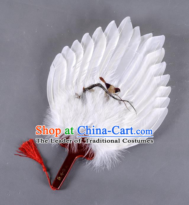 Traditional Chinese Crafts Folding Fan China White Feather Fan Printing Bird Oriental Fan Zhuge Liang Fans