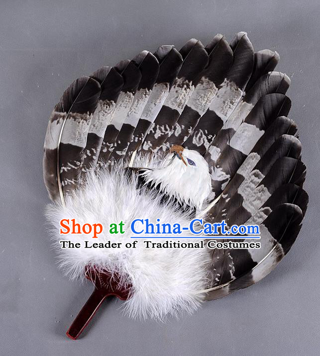 Traditional Chinese Crafts Folding Fan China Eagle Feather Large Fan Oriental Fan Zhuge Liang Fans