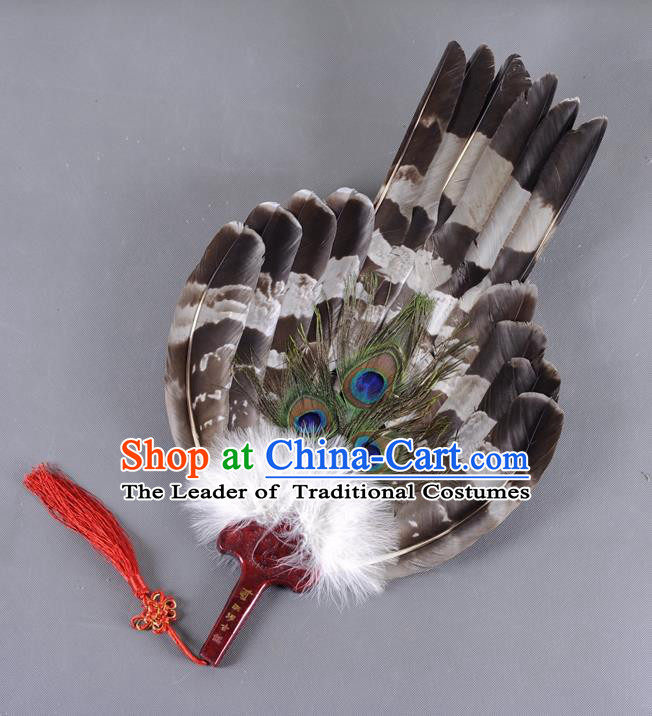 Traditional Chinese Crafts Folding Fan China Black Feather Fan Oriental Large Fan Zhuge Liang Fans